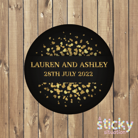 Personalised Wedding Stickers - Black and Gold Heart Design